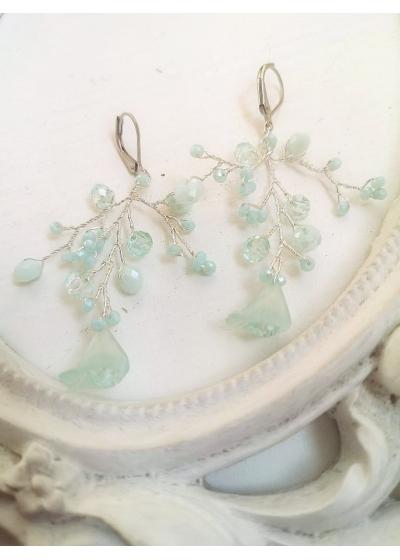 Дизайнерски обици в светло зелено Sweet Mint Flowers by Rosie
