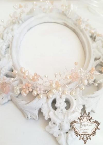 Дизайнерска диадема с кристали Сваровски и естествени перли Bloom of Pearls and Flowers by Rosie