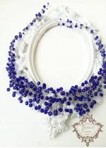 Уникална Кристална диадема в кралско синьо и златно Gold and Blue by Rosie
