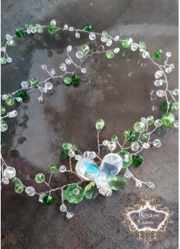 Абитуриентска диадема- украса за Коса от Сваровски кристали в зелено и бяло Green Butterfly