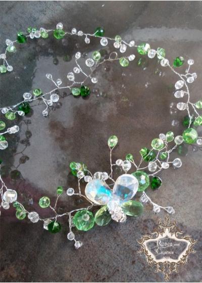 Абитуриентска диадема- украса за Коса от Сваровски кристали в зелено и бяло Emerald Butterfly