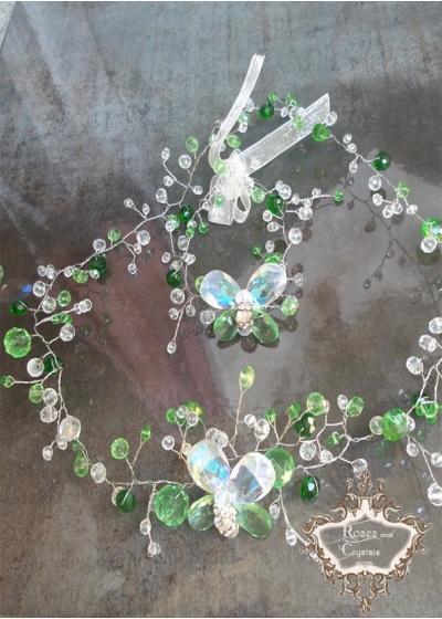 Комплект кристална диадема и гривна с пеперуди в зелено и бяло Emerald Butterfly by Rosie