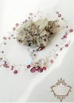 Дизайнерска диадема с пеперуда Сваровски кристали в лилаво и бяло Violet Butterfly
