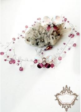 Комплект кристална диадема за коса и пръстен с пеперуди в лилаво и бяло Violet Butterfly