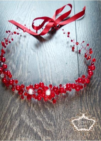 Диадема - украса за коса от червени кристали и перли Red- White