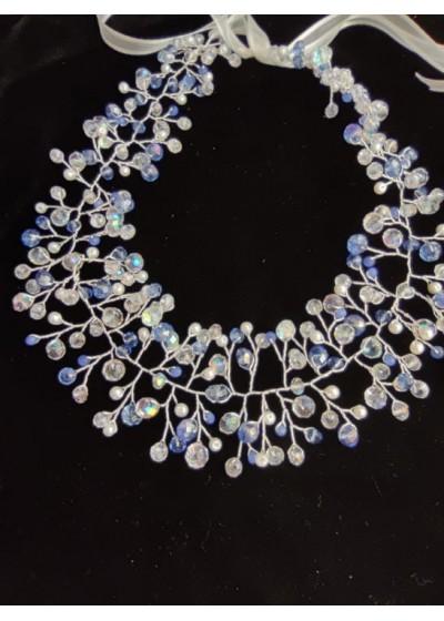 Уникална Кристална диадема в кралско синьо и златно Shades of Blue by Rosie