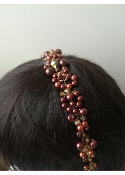 Мека дизайнерска диадема с перли и кристали Сваровски в кафяво Brown and Gold by Rosie