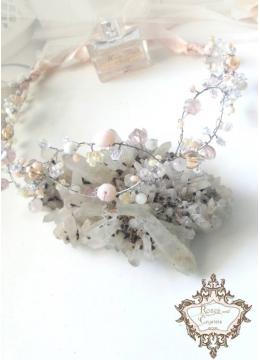 Дизайнерска сватбена диадема с кристали Infinity Blush by Rosie