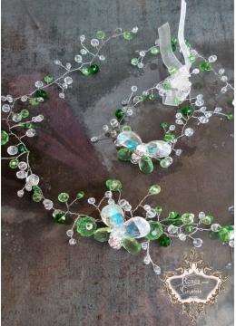 Комплект Колие и гривна с пепруди от Сваровски кристали Green Butterfly