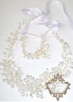 Дизайнерска диадема и гривна за булка с перли и кристали Gold in Snow Magic