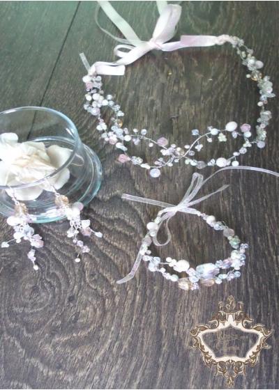 Комплект кристална сватбена диадема, гривна и обици Infinity Blush by Rosie