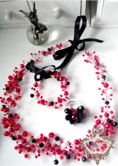 Комплект диадема в черно и червено, гривна и пръстен от кристали