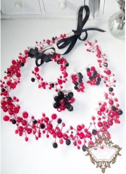 Комплект абитуриентска диадема, гривна, обици и пръстен с кристали в черно и червено Carmen