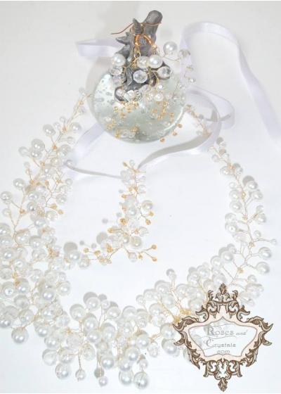 Дизайнерска булчинска диадема - украса за коса комплект с гривна и обици Gold in Snow Magic