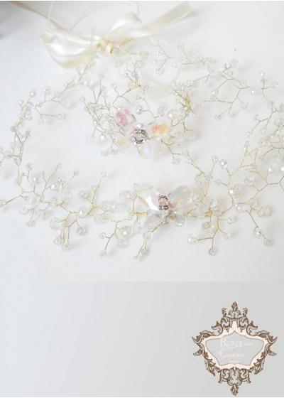 Булчинска диадема за коса и гривна Сваровски кристали с пеперуда Crystal Butterfly Gold by Rosie
