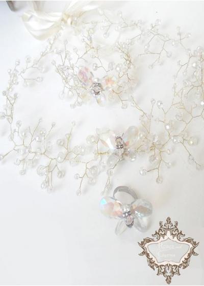 Комплект аксесоари за сватба и бал- диадема, гривна и пръстен с кристални пеперуди Clear Butterfly