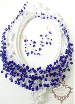 Комплект ръчно изработена диадема и дълги обици в тъмно синьо и златно Gold and Blue by Rosie