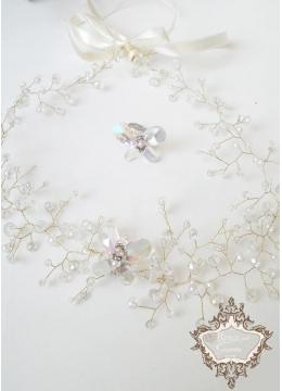 Комплект кристално колие и пръстен с пеперуди Crystal Butterfly Gold by Rosie