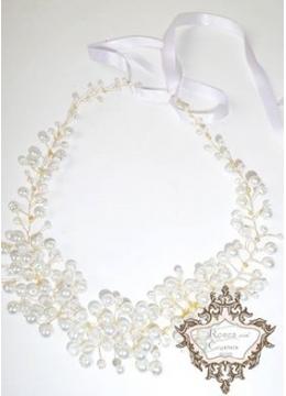 Луксозна диадема - украса за коса с Перли и Кристали Gold in Snow Magic
