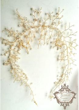 Кристална дизайнерска диадема- украса за коса Gold Sparks