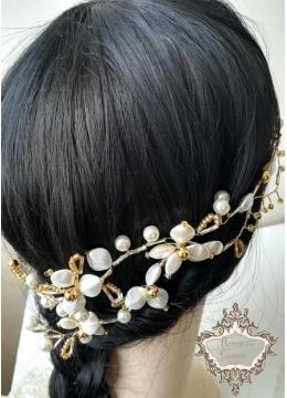 Булчинска Диадема украса за коса Gardenia Gold by Rosie