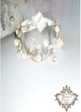 Нежна Сватбена гривна в златно с перли и кристали серия Infinity