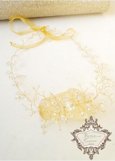 Нежна Булчинска кристална диадема Pure Crystal Gold by Rosie