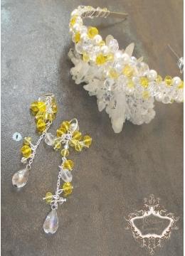 Нежен комплект диадема за сватба и бал и дълги обици с кристали Summer Sun by Rosie
