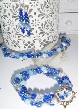 Комплект Дизайнерска диадема, гривна и обици от кристали Tender in Blue