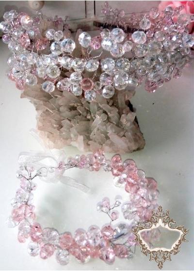 Комплект диадема за сватба и бал и гривна от кристали серия Rose Kiss by Rosie