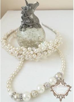 Разкошен комплект за булка Диадема и колие с перли и кристали Ivory Perfection