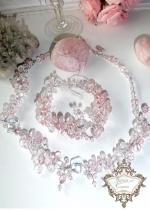 Колие и гривна от кристали в бяло и розово серия Rose Kiss by Rosie