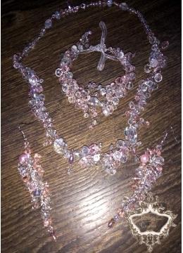 Комплект бижута за сватба и бал от кристали в розовата гама серия Rose Kiss.