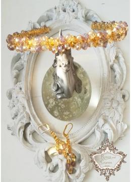 Комплект кристална диадема и обици за сватба и бал в златисто модел Mademoiselle Coco by Rosie