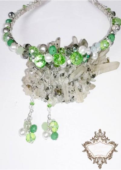 Комплект Дизайнерска кристална диадема и обици Tender in Green