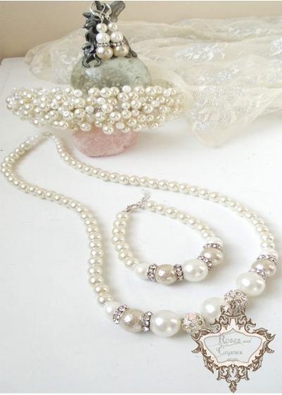 Булчински комплект диадема, колие, гривна и обици от кристали и перли Ivory Perfection