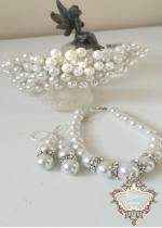 Дизайнерски комплект за булка диадема, гривна и обици от перли и кристали Perfect White