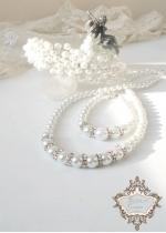 Дизайнерски булчински комплект диадема, колие, гривна и обици от перли и кристали White Perfection