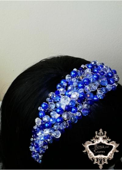 Дизайнерска диадема с кристали в синьо и бяло за бал и парти Blue Мagic