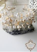 Дизайнерска диадема Сваровски кристали Golden Shine by Rosie Concept