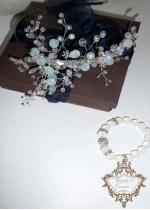 Комплект булчинска диадема и гривна от лунен камък,опал и кристали Moon Rose 2