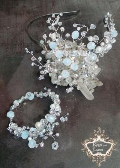 Комплект булчинска диадема и гривна от лунен камък,опал и кристали Moon Rose