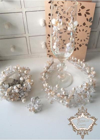 Комплект кристална диадема, гривна обици и пръстен Golden Shine by Rosie