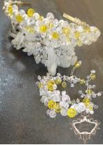 Комплект уникална кристална диадема и гривна в жълто и бяло Summer sun by Rosie Concept