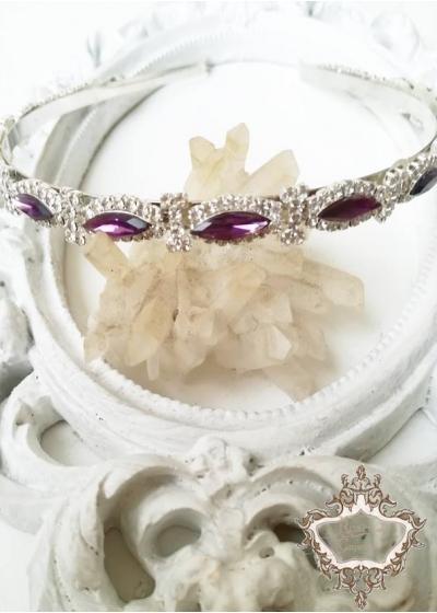 Дизайнерска кристална диадема в лилаво Purple Rose by Rosie