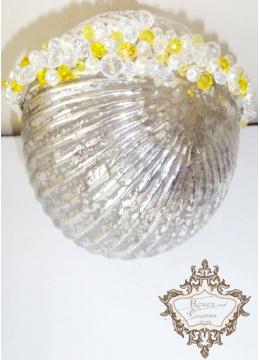 Уникална официална диадема за коса с кристали в жълто и бяло Summer Sun by Rosie
