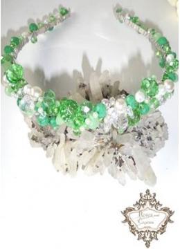 Дизайнерска кристална диадема за коса Tender in Green
