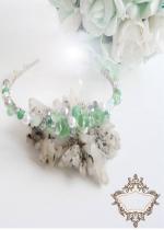 Уникална ръчно изработена диадема в цвят мента и бяло Tender mint