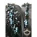 Асиметрична диадема за коса с перли и кристали в черно и тюркоаз Blue Roses