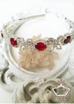 Уникална дизайнерска диадема за бал и сватба с кристали в червено и бяло Ruby Rose